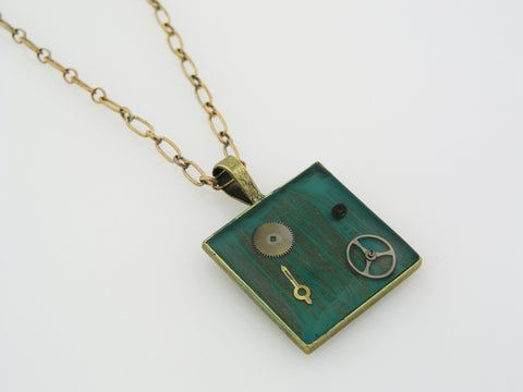 Necklace with Resin and Vintage Watch Parts