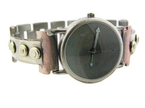 Silver & brass Watch, blue Dial
