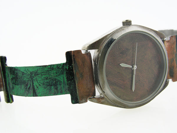 Patina Watch With Copper Tone Dial, Dragonfly