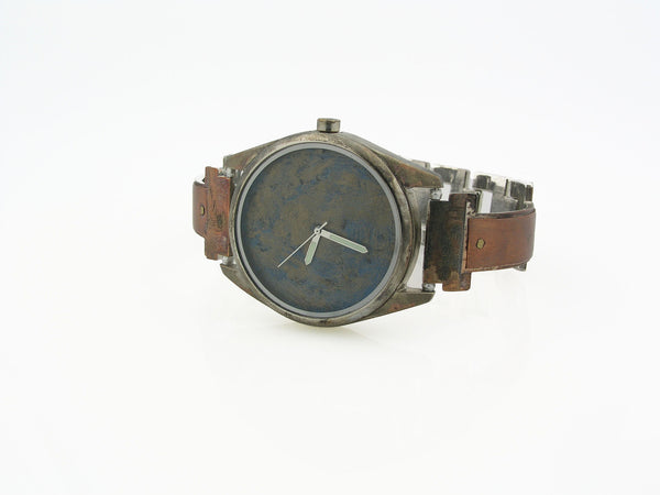 Men's Copper Watch, Large Blue Dial