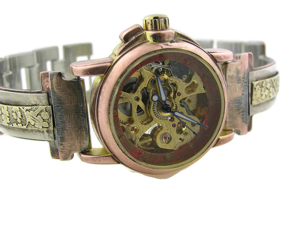 Small Silver & Brass Automatic Mechanical Watch, red Dial