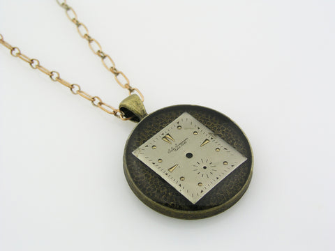 Necklace made of Resin and Old Watch Dial