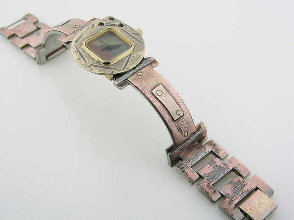 Women's Watch, copper & silver, Multicolor Dial