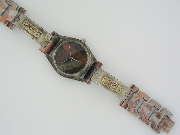 Men's brass & silver Watch, Multicolor Dial