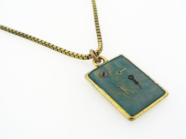 Resin Necklace with Vintage Watch Parts