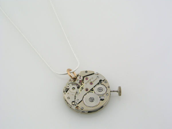 Vintage Watch Movement Pendant Necklace, Steampunk