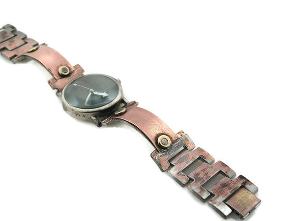 Copper & brass Watch, blue Dial