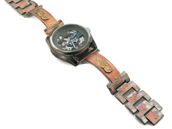 Copper & Brass Automatic Mechanical Watch, blue Dial