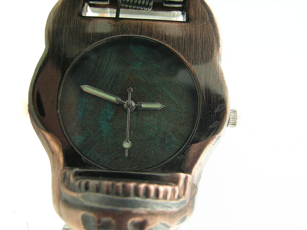 Copper Skull Watch, Blue Dial