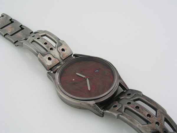 Men's Watch with Date, Red Dial