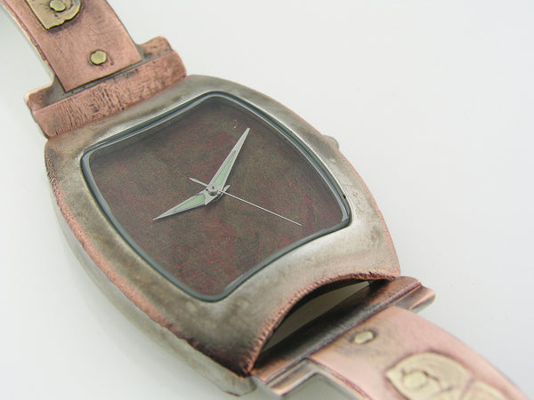 Copper & Brass Watch, red Dial
