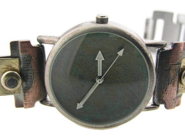 Brass Watch, blue Dial