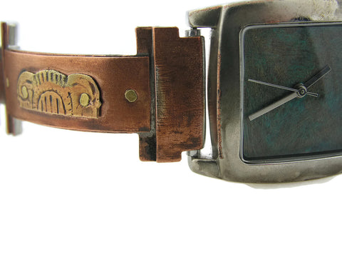 Copper & Brass Watch, bluer Dial