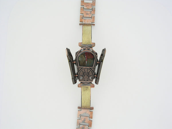 Copper & Brass Coffin Watch, Multicolor Dial