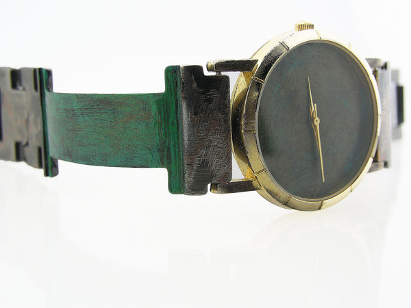Patina Watch With Blue Tone Dial