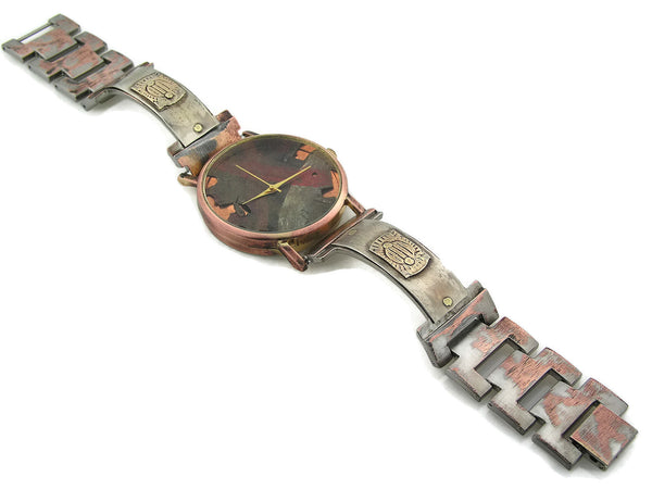 Silver & Brass Watch, Multicolor Dial