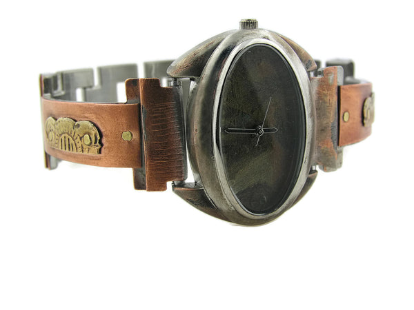 Copper & Brass Watch, multicolor Dial