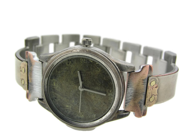 Silver & Brass Watch, green Dial