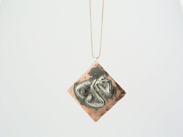 Square Copper & Sterling Silver Pendant Necklace