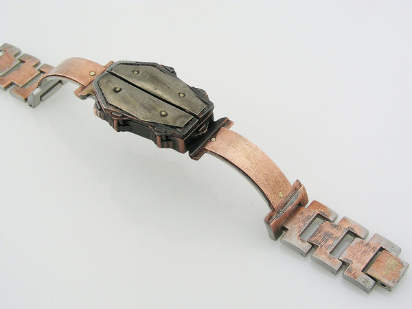 Copper & Silver Coffin Watch, Multicolor Dial