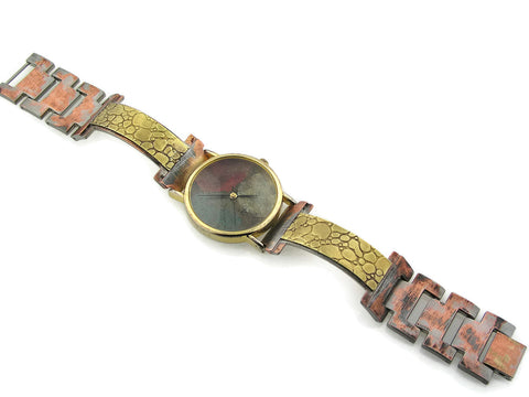 Brass Watch, multicolor Dial