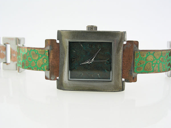 Patina Watch With Blue Dial