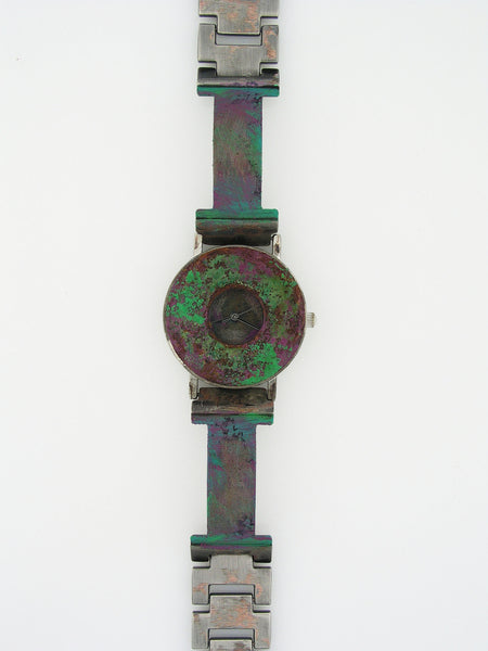 Patina Watch With Multi color Dial