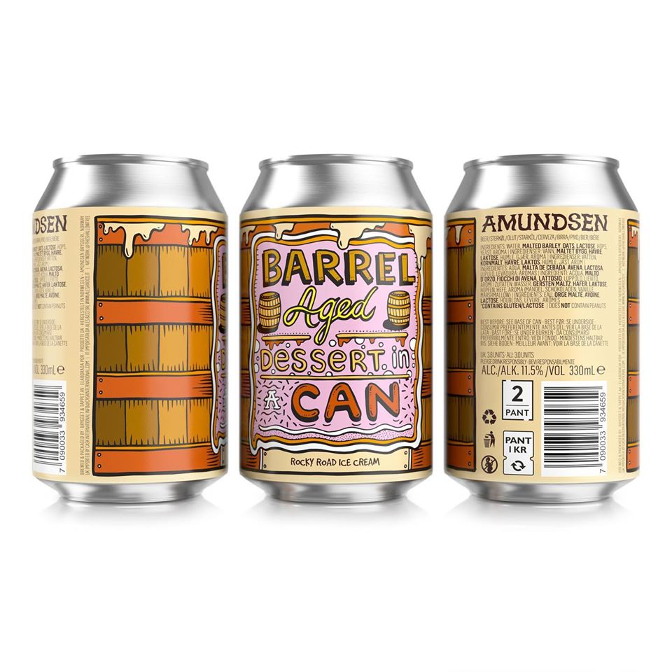 Barrel Aged Dessert In A Can Rocky Road Ice Cream - Amundsen Brewery - Barrel Aged Rocky Road Ice Cream Imperial Stout, 11.5%, 330ml