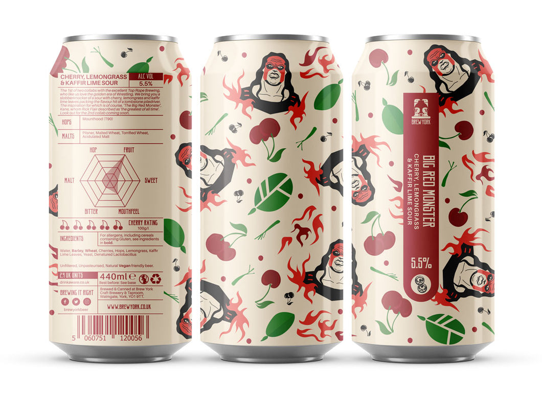 Big Red Monster - Brew York X Top Rope Brewing - Cherry, Lemongrass & Kaffir Lime Sour, 5.5%