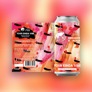 Your Kinda Vibe - Lost & Grounded X Broaden & Build - Peach & Black Pepper Sour, 4.4%, 440ml
