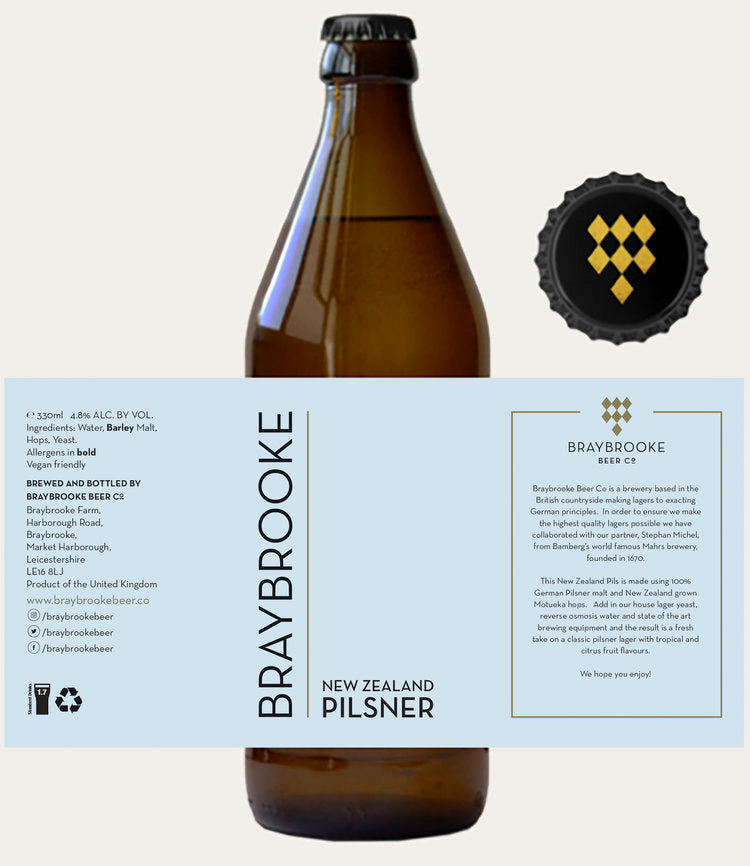 New Zealand Pilsner - Braybrooke - New Zealand Pilsner, 4.8%, 330ml Bottle