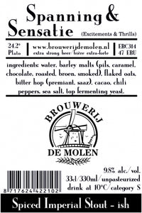 Spanning & Sensatie - Brouwerij De Molen - Spiced Imperial Stout, 9.8%, 330ml Bottle