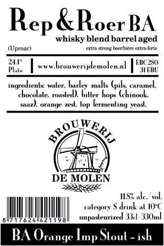 Rep & Roer BA - Brouwerij De Molen - Blended Whiskey Barrel Aged Orange Imperial Stout, 11.8%, 330ml Bottle
