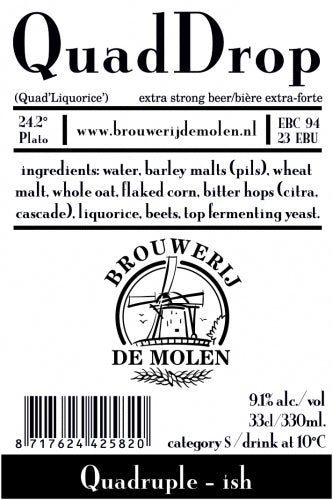 Quad Drop - Brouwerij De Molen - Liquorice Quadruple, 9.1%, 330ml Bottle