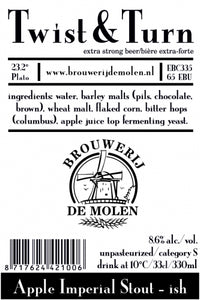 Twist & Turn - Brouwerij De Molen - Apple Imperial Stout, 8.6%, 330ml Bottle