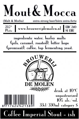 Mout & Mocca - Brouwerij De Molen - Coffee Imperial Stout, 10%, 330ml Bottle