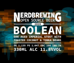 Boolean - Nerd Brewing - Oak Aged Imperial Stout with Toasted Coconut & Tonka Beans, 11.8%, 330ml Bottle