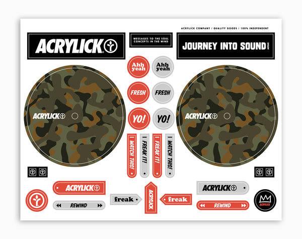 Acrylick Dj Cue Sticker Sheet Duck Camo