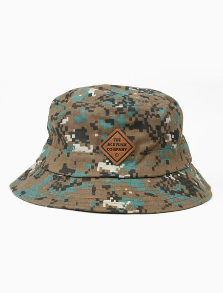acrylick headwear 2019 midnighters camo bucket leather patch