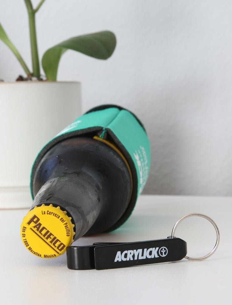 Acrylick Company - Metal Bottle opener can Black logo (2227186958447)