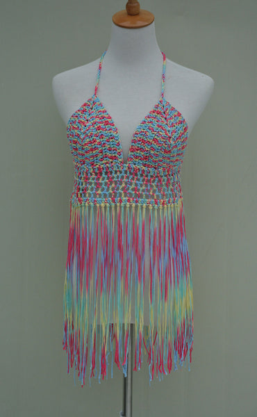 Fringe Crochet Bikini Halter Crop Top More Colors Available