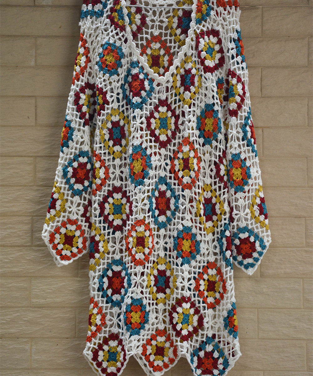 Granny Square Crochet Dress Women Bohemian Clothing