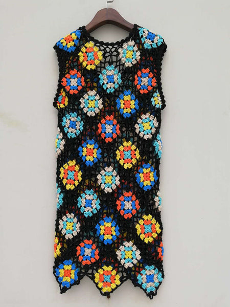 Granny Square Crochet Tank Dress Women Bohemian Clothing