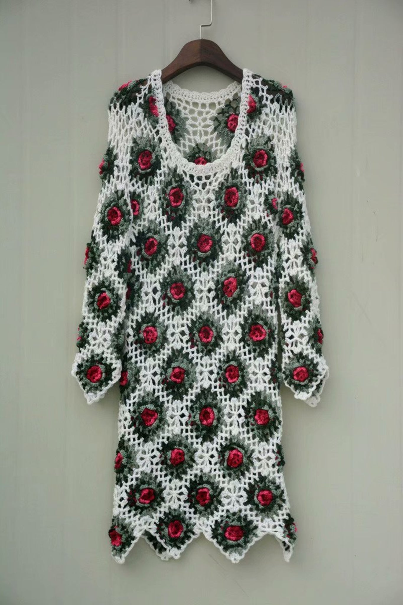 Granny Square Crochet Dress with Long Sleeves Women Bohemian Flower Tunic Dresses
