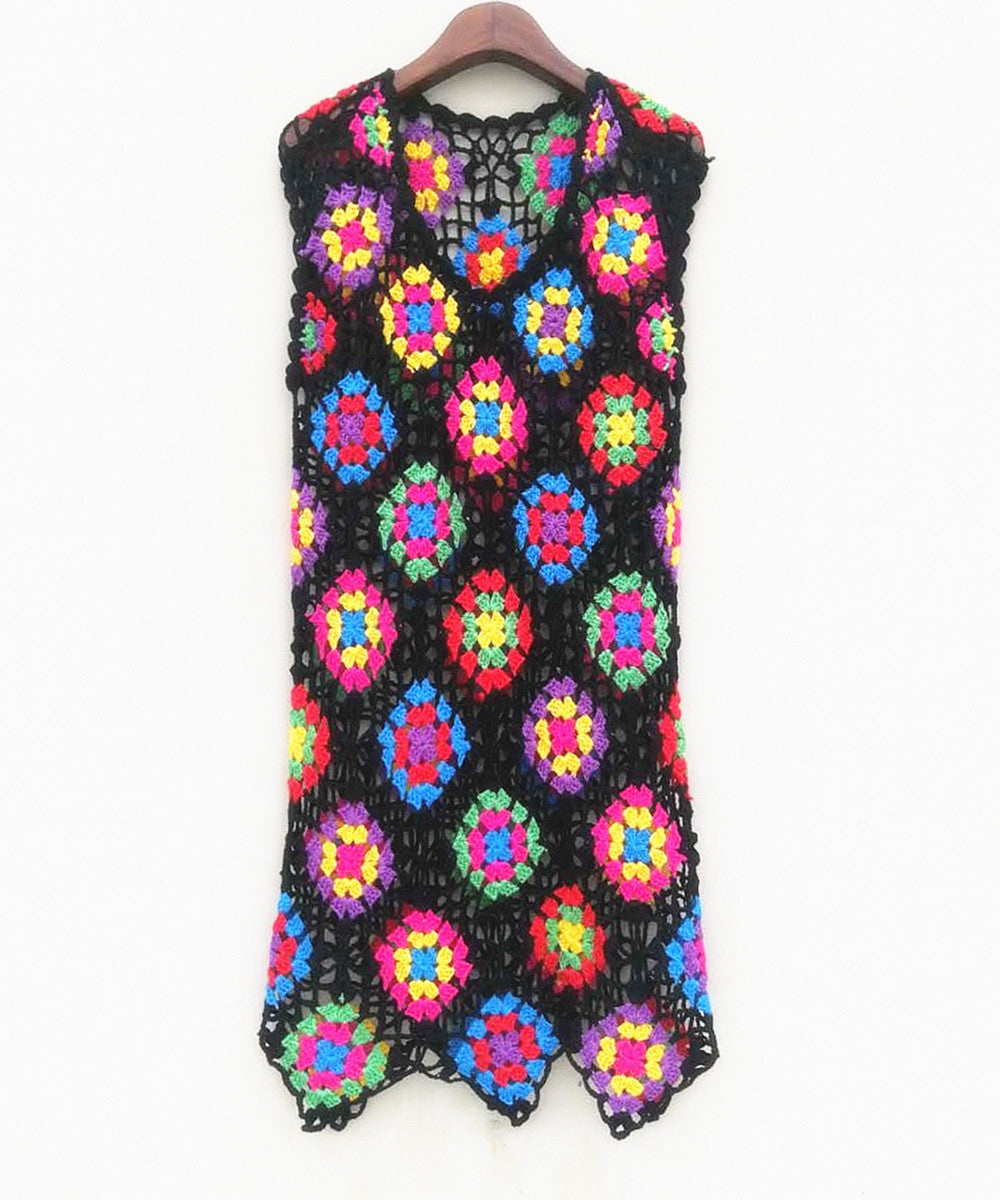 Crochet Granny Square Tank Dress Women Bohemian Clothing