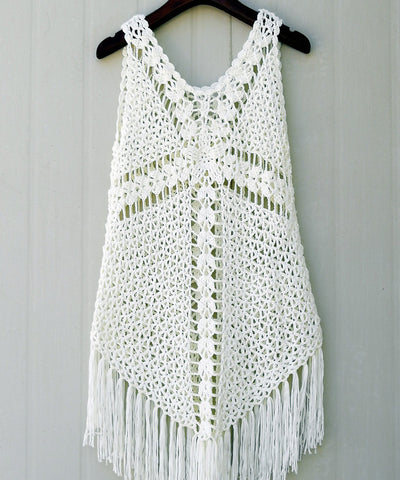 White Fringed Crochet Tank Dress Women Bohemian Clothing