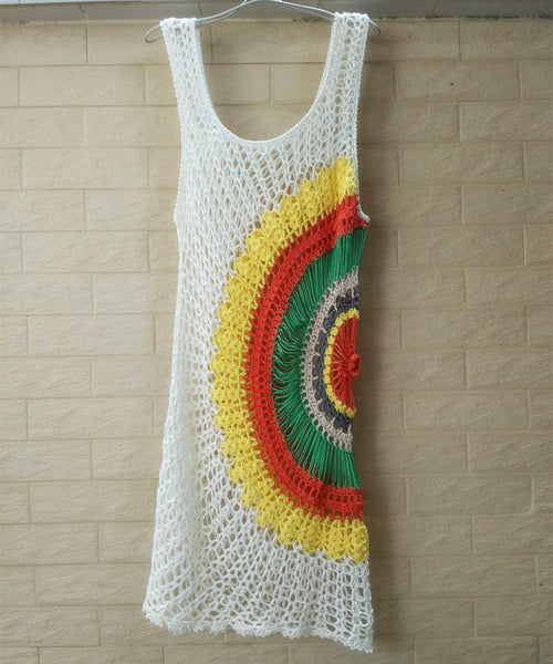 Crochet Beach Cover Up Dress Women Bohemian Vest Dresses Bright Rainbow Multicolored