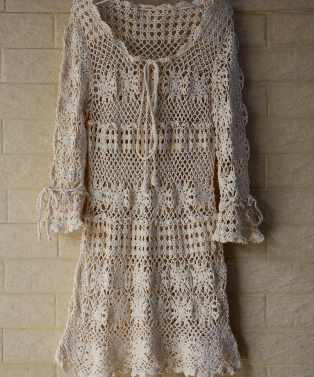 Bohemian Women Crochet Dress with Long Sleeves