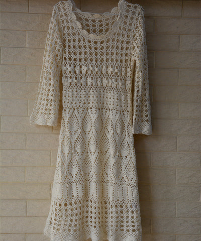 Boho Crochet Dress with Long Sleeves Women Bohemian Clothing