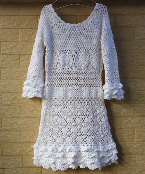 White Crochet Dress with Long Sleeves Women Bohemian Clothing